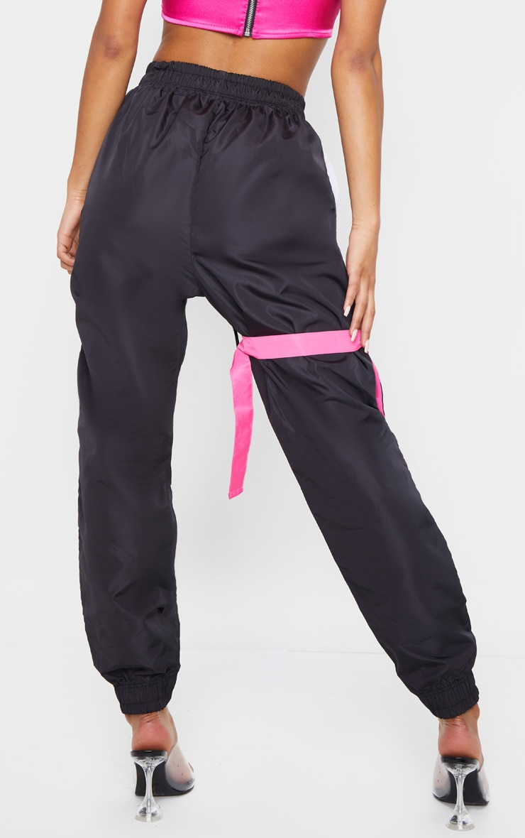 Black Neon Binding Shell Pocket Detail Joggers 3