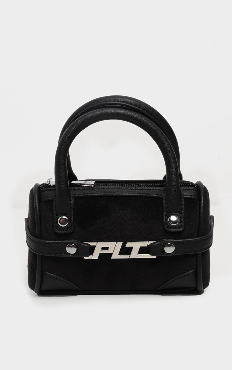 PRETTYLITTLETHING Black Velour Mini Bowling Bag 2