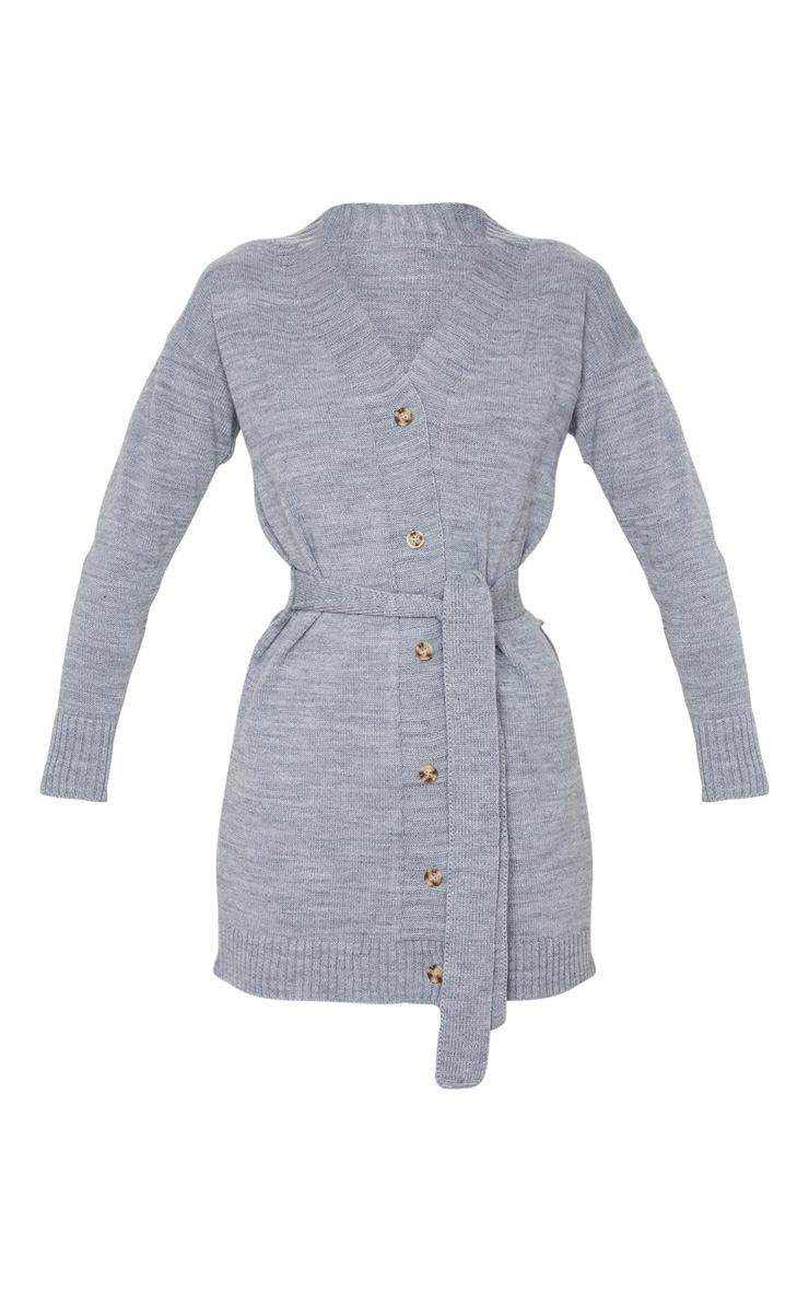 Grey Belted Longline Cardigan 3