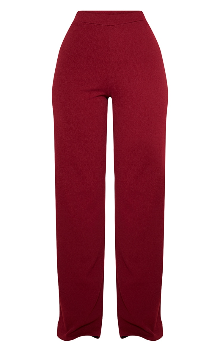 Burgundy Wide Leg Pants  3