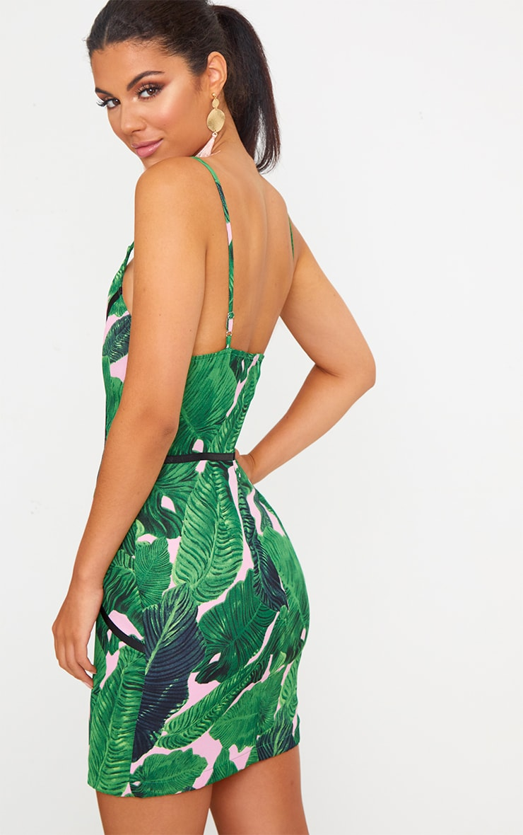 Green Tropical Leaf Print Binded Bodycon Dress 2