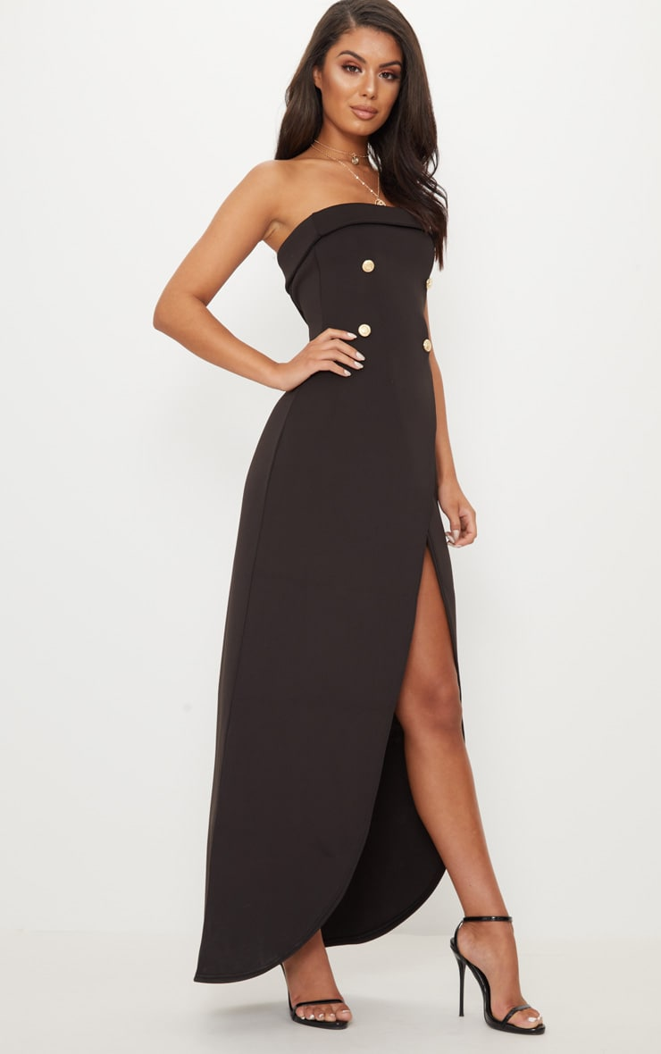 Black Bandeau Wrap Button Detail Tailored Maxi Dress 4