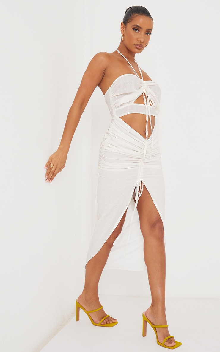 White Textured Bandeau Cut Out Ruched Midi Dress 3