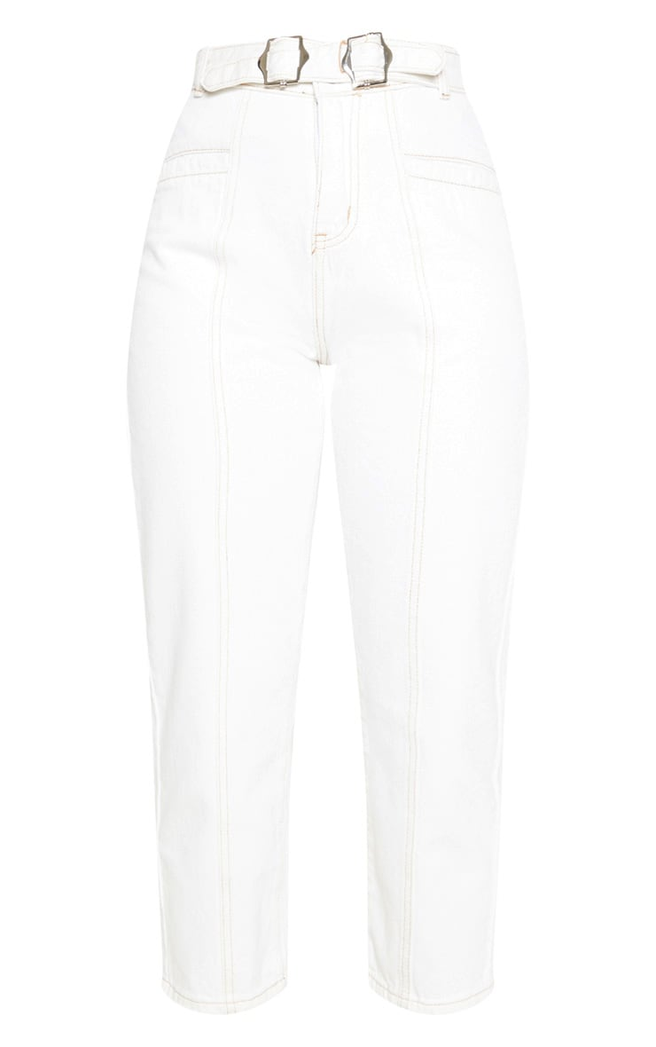 Ecru With Contrast Stitch Belted Straight Leg Cropped Jeans 3