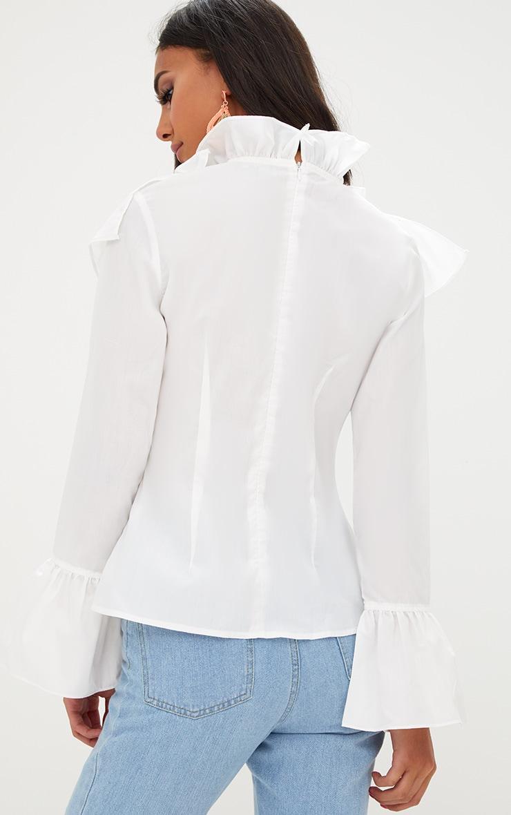 White Ruffle Frill High Neck Shirt 2