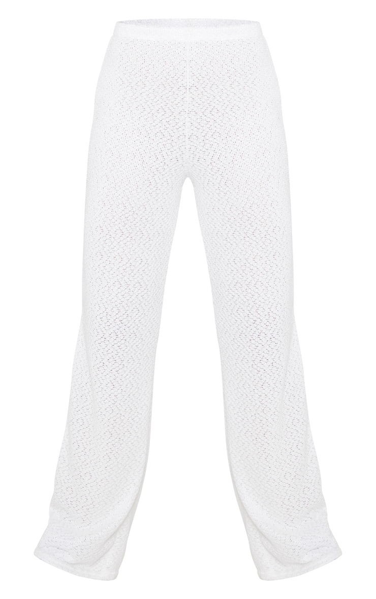 Tall Cream Soft Knit Flared Pants 3