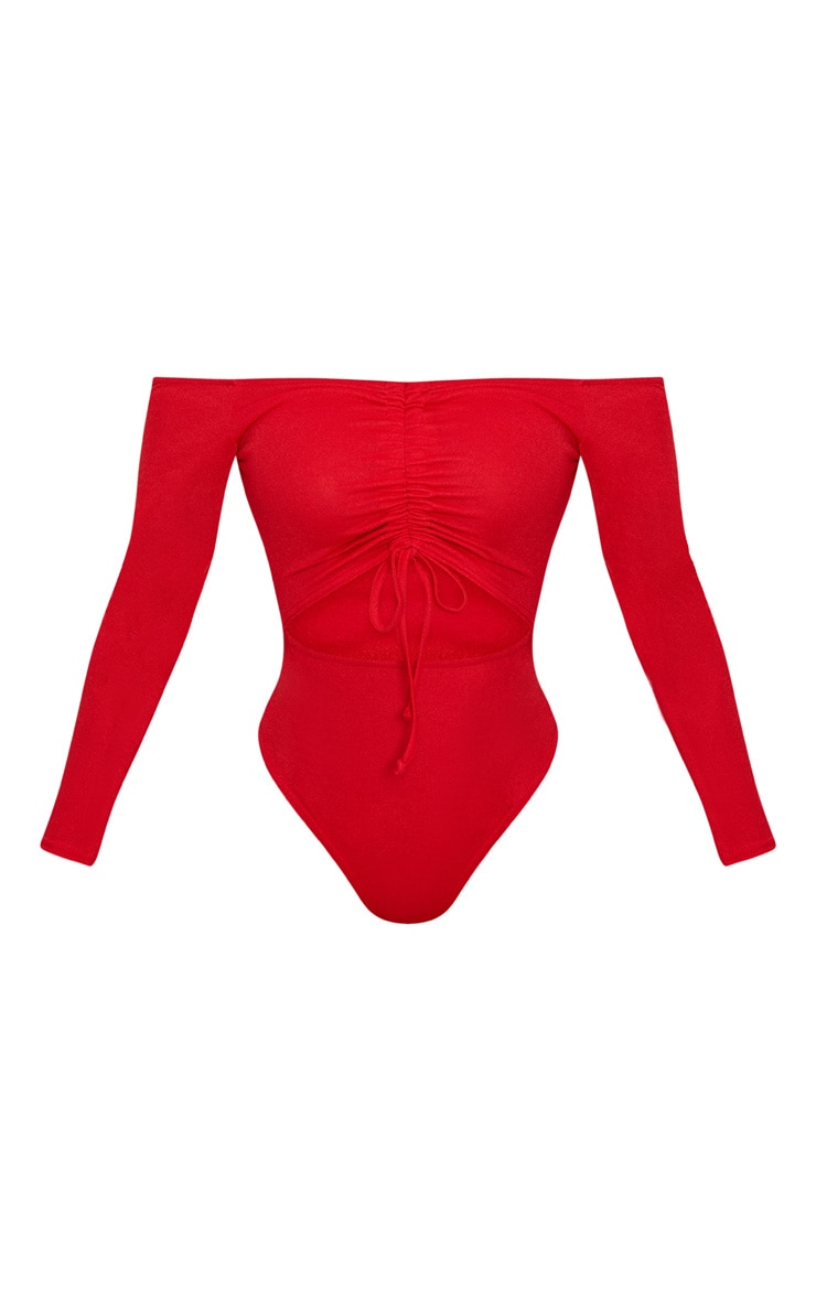 Shape  Red Ruched Detail Bardot Bodysuit 2