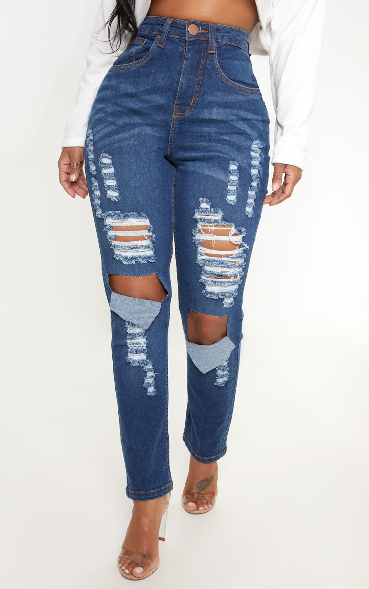 Shape Mid Wash Extreme Rip Skinny Jeans 2