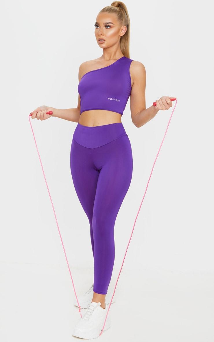 PRETTYLITTLETHING Purple High Waisted Gym Legging 1
