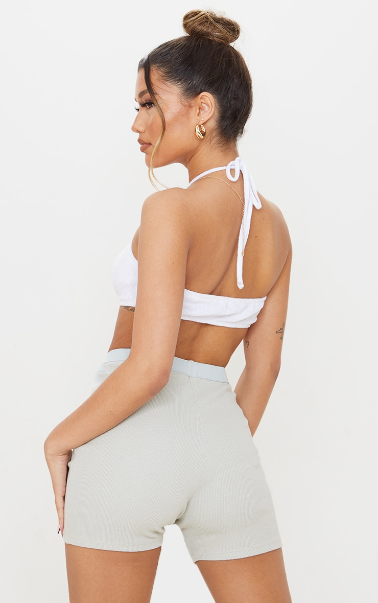 Cream Towelling Halter Cut Out Crop Top 2