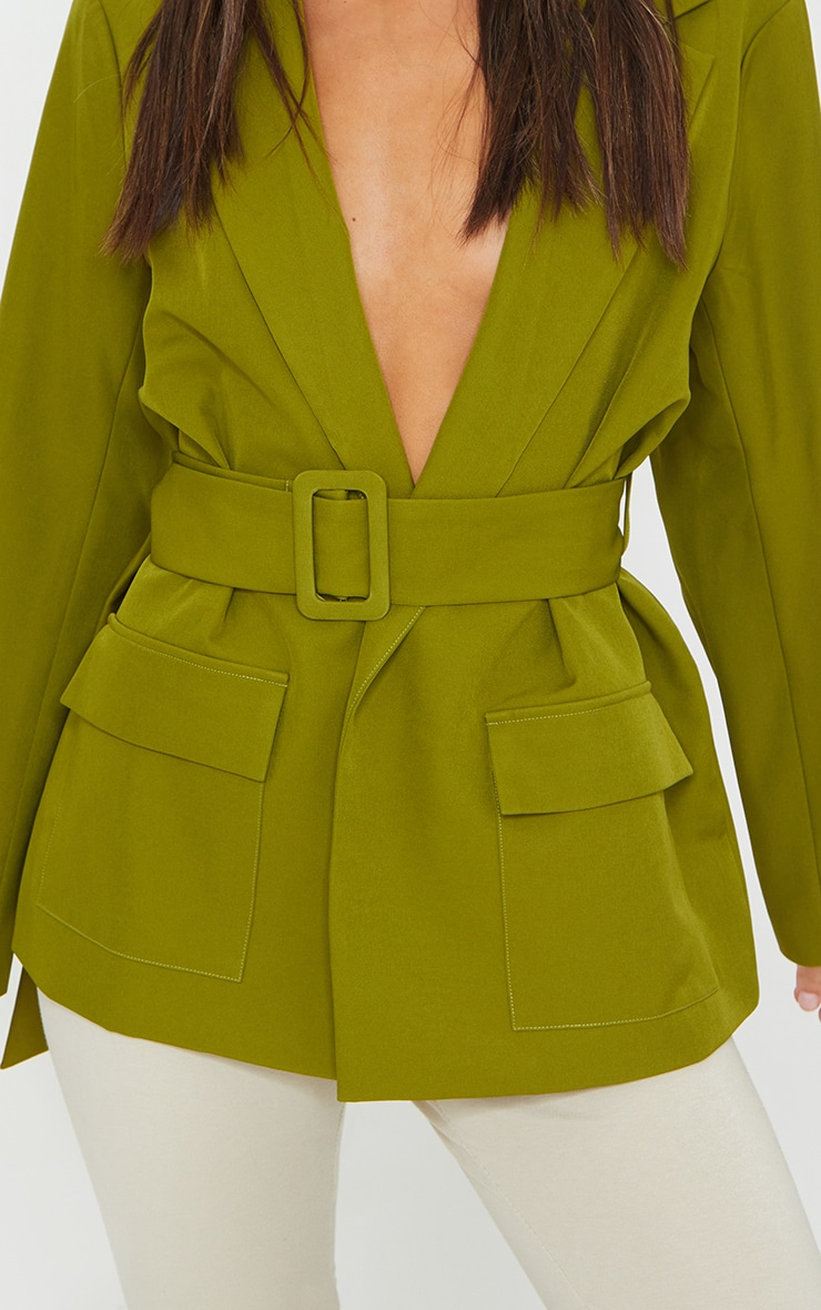 Sage Green Covered Buckle Belted Woven Blazer 4