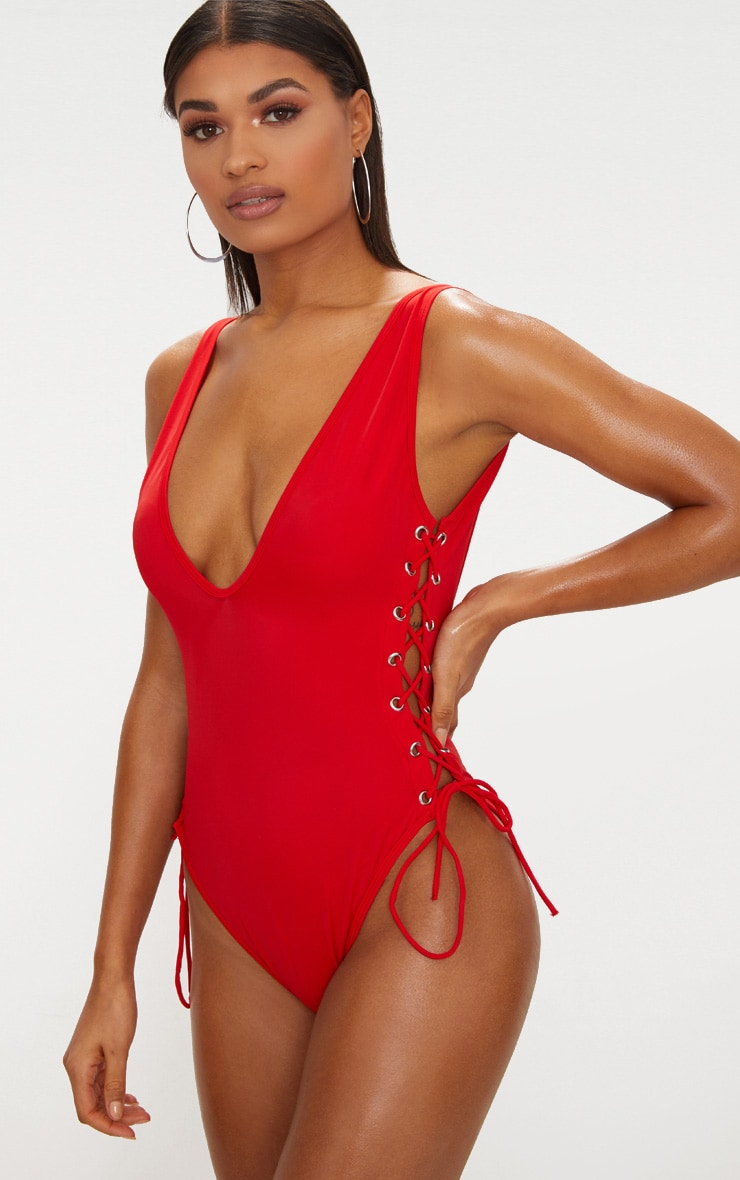 Red Tie Side Plunge Swimsuit  5