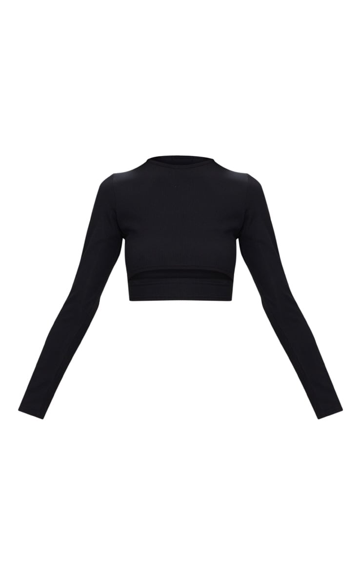 Black Rib Long Sleeve Under Bust Crop Top  3