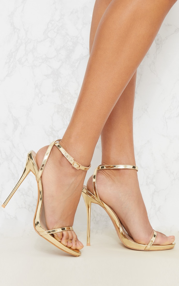 Gold PU Single Strap Stiletto Sandals 1