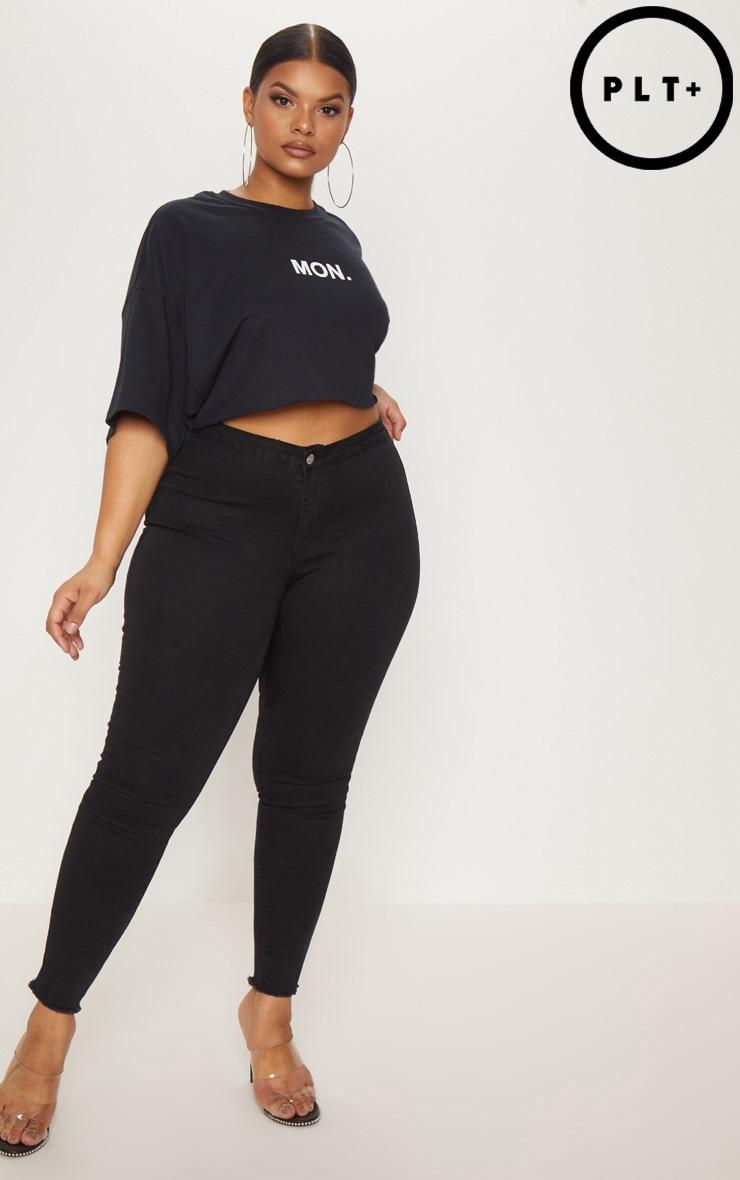Plus Black Disco Skinny Jeans