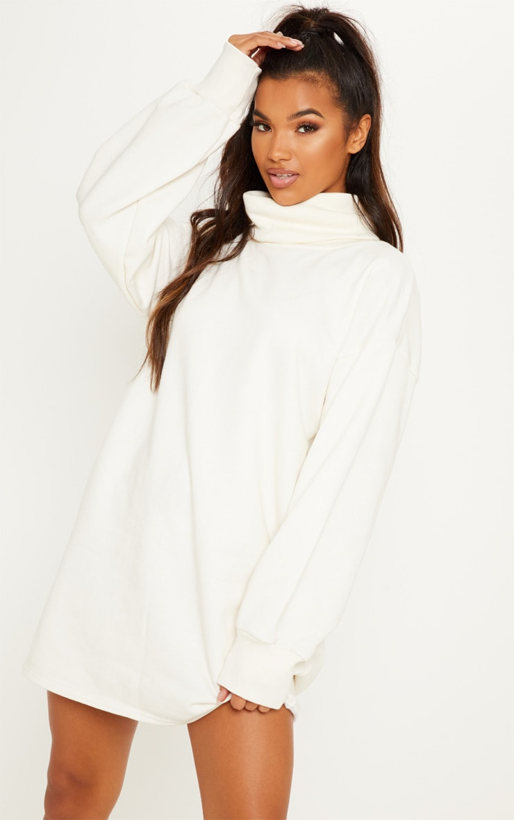 Cream Oversized Sweat Roll Neck Jumper Dress 1