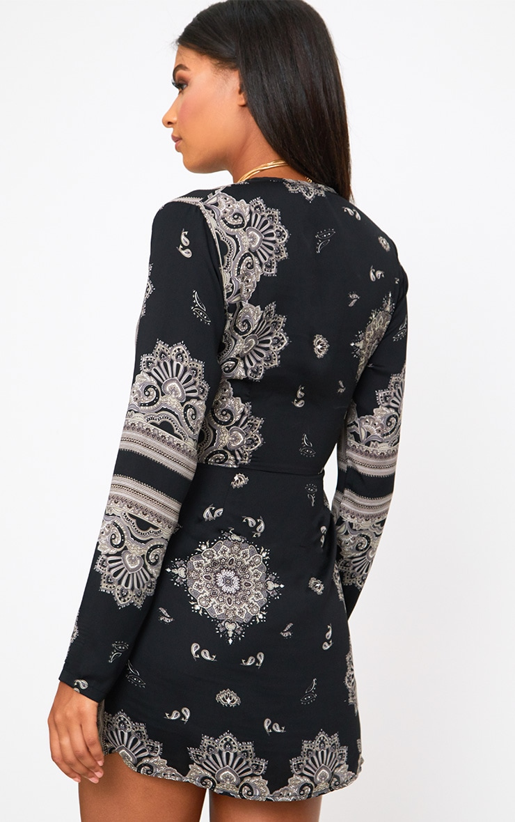 Black Printed Silky Long Sleeve Wrap Dress 2