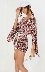 Chocolate Brown Leopard Print Rope Belted Playsuit image 4 cca452c35