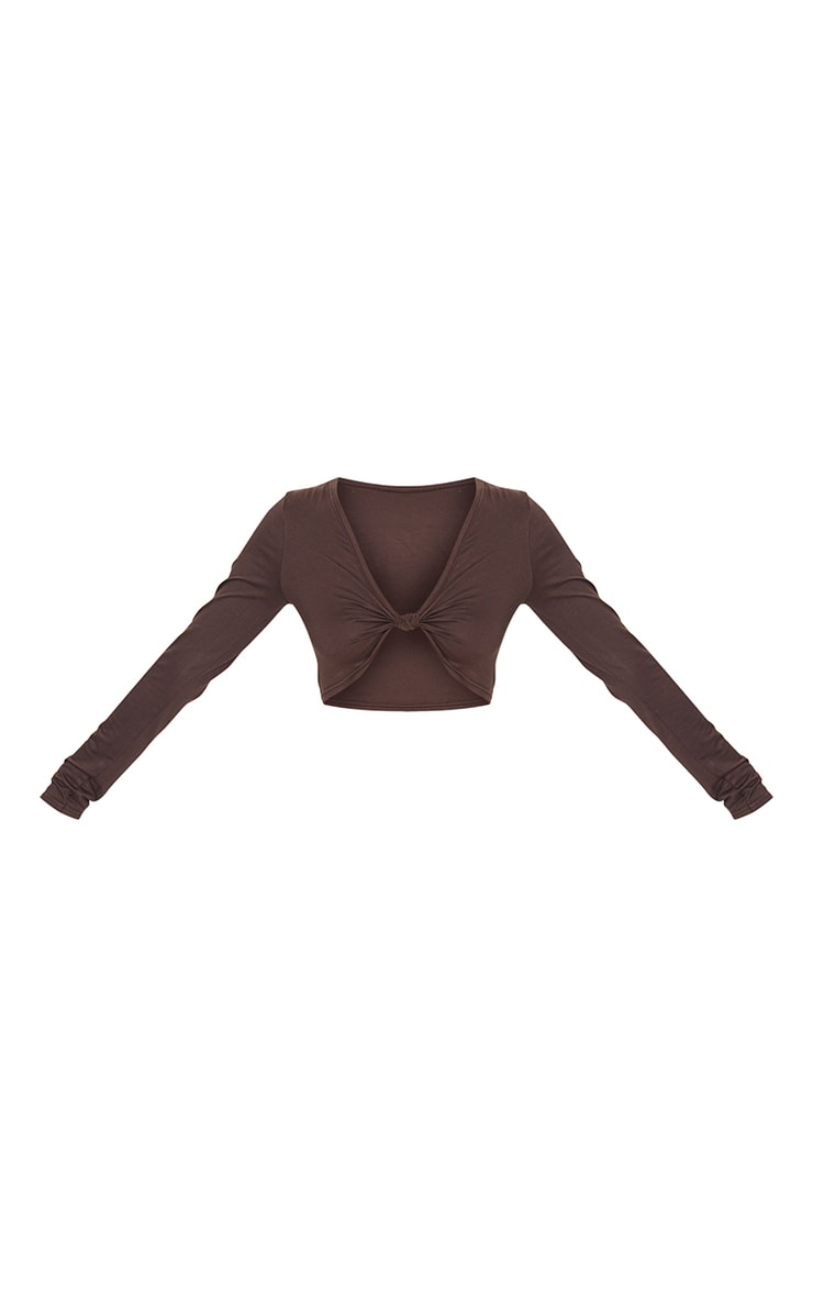 Brown Jersey Knot Front Long Sleeve Crop Top 5