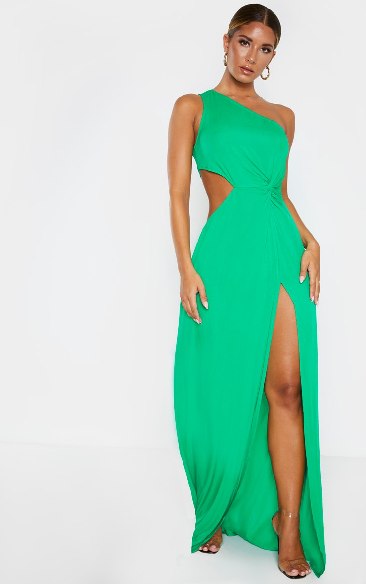 Green One Shoulder Cut Out Knot Detail Split Leg Maxi Dress 4