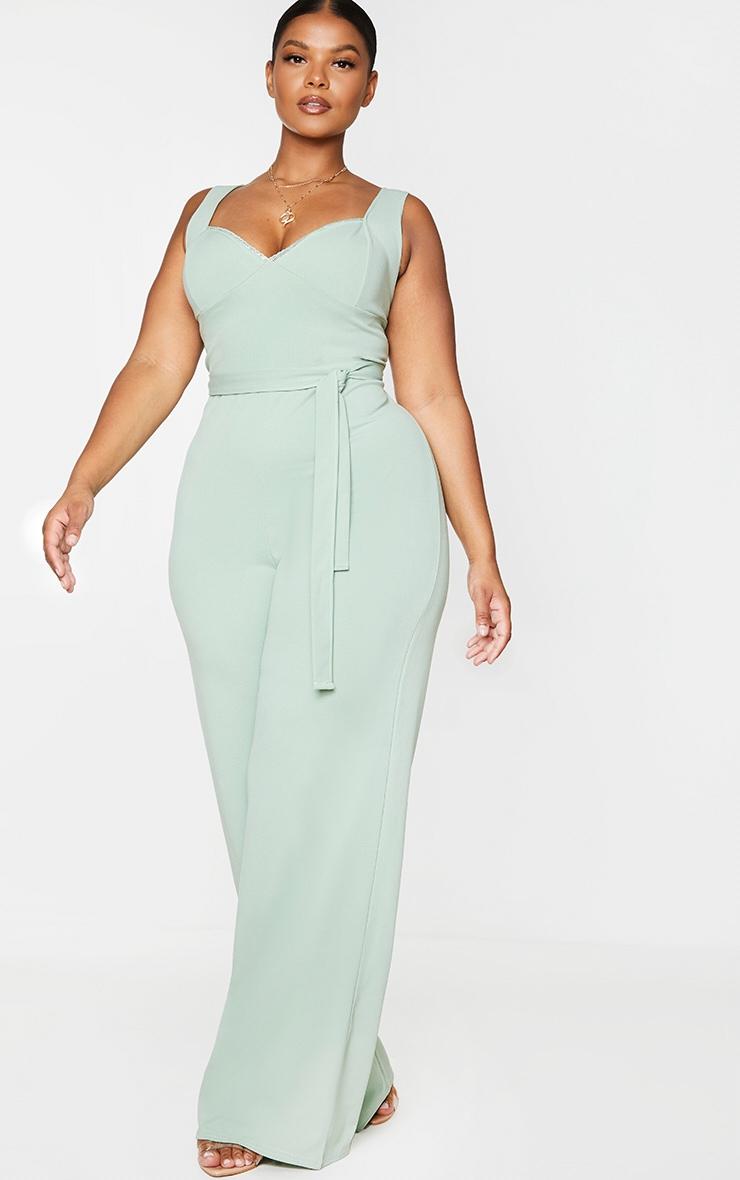 Plus Sage Green Lace Trim Tie Waist Wide Leg Jumpsuit 3