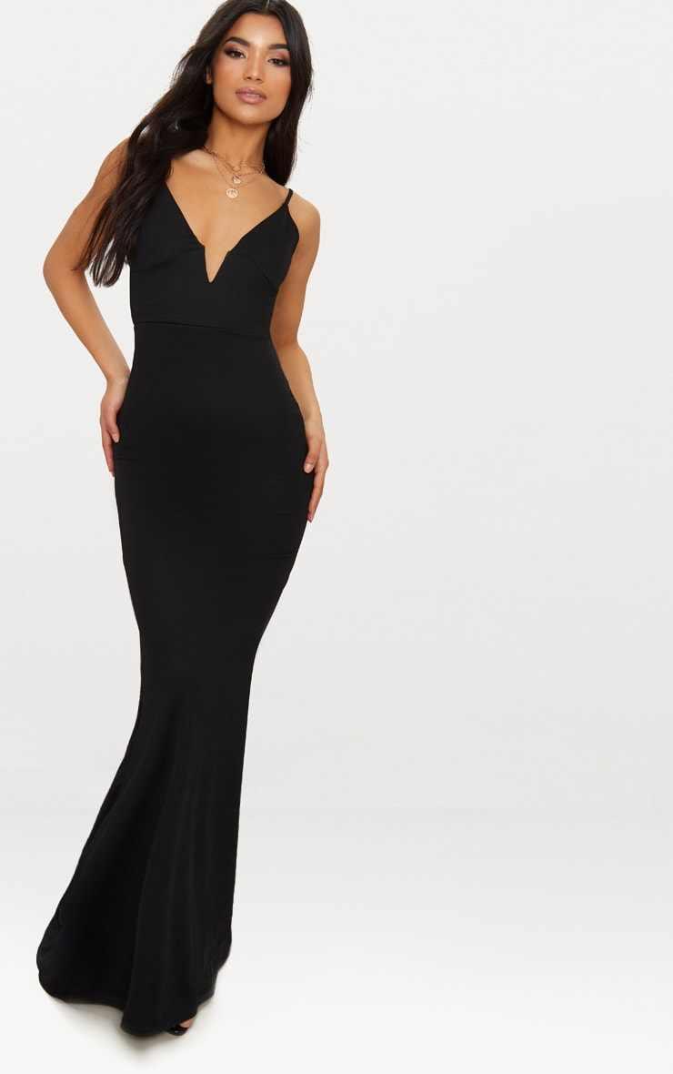 Black V Bar Backless Maxi Dress 1