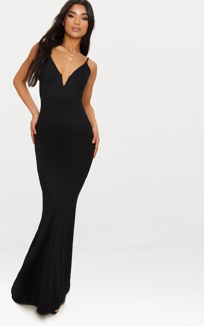 Black V Bar Backless Maxi Dress