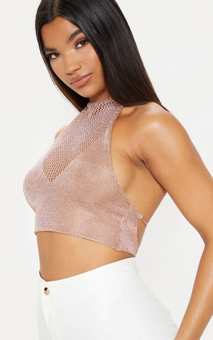 Nubia Bronze Metallic Knitted Crop Top 5