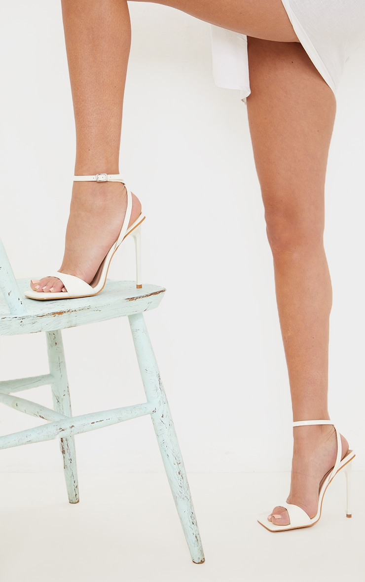 White PU Barely There Cross Back Strap High Heeled Sandals 2