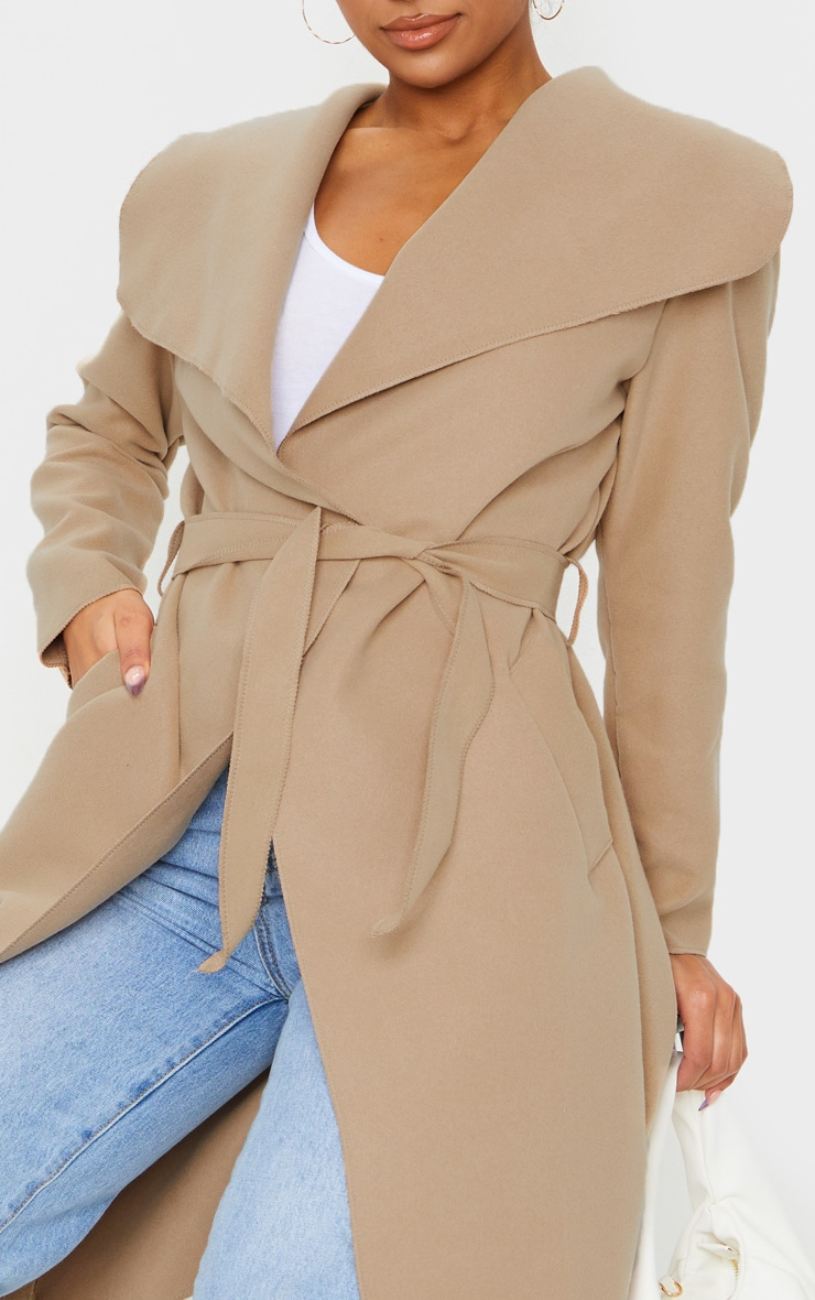 Veronica Camel Oversized Waterfall Belt Coat 4