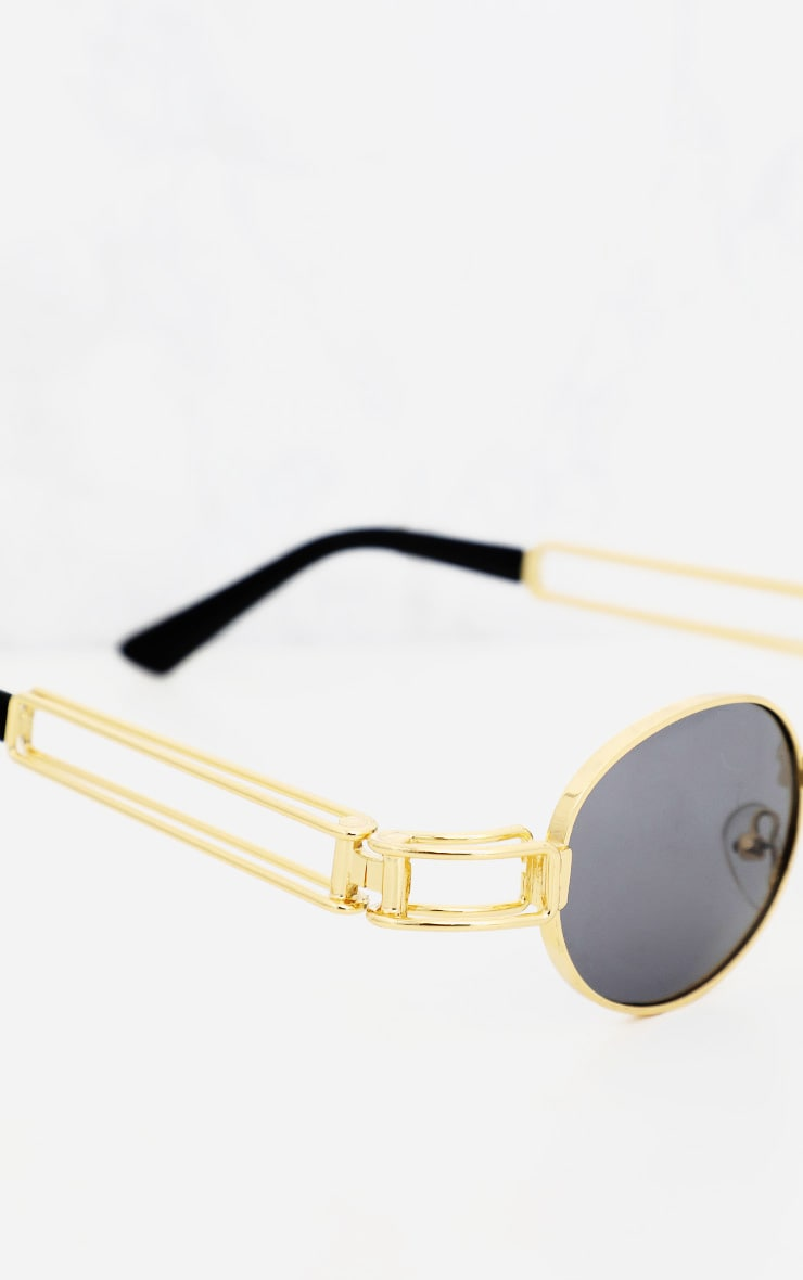 Black Oval Metal Frame Retro Sunglasses 4