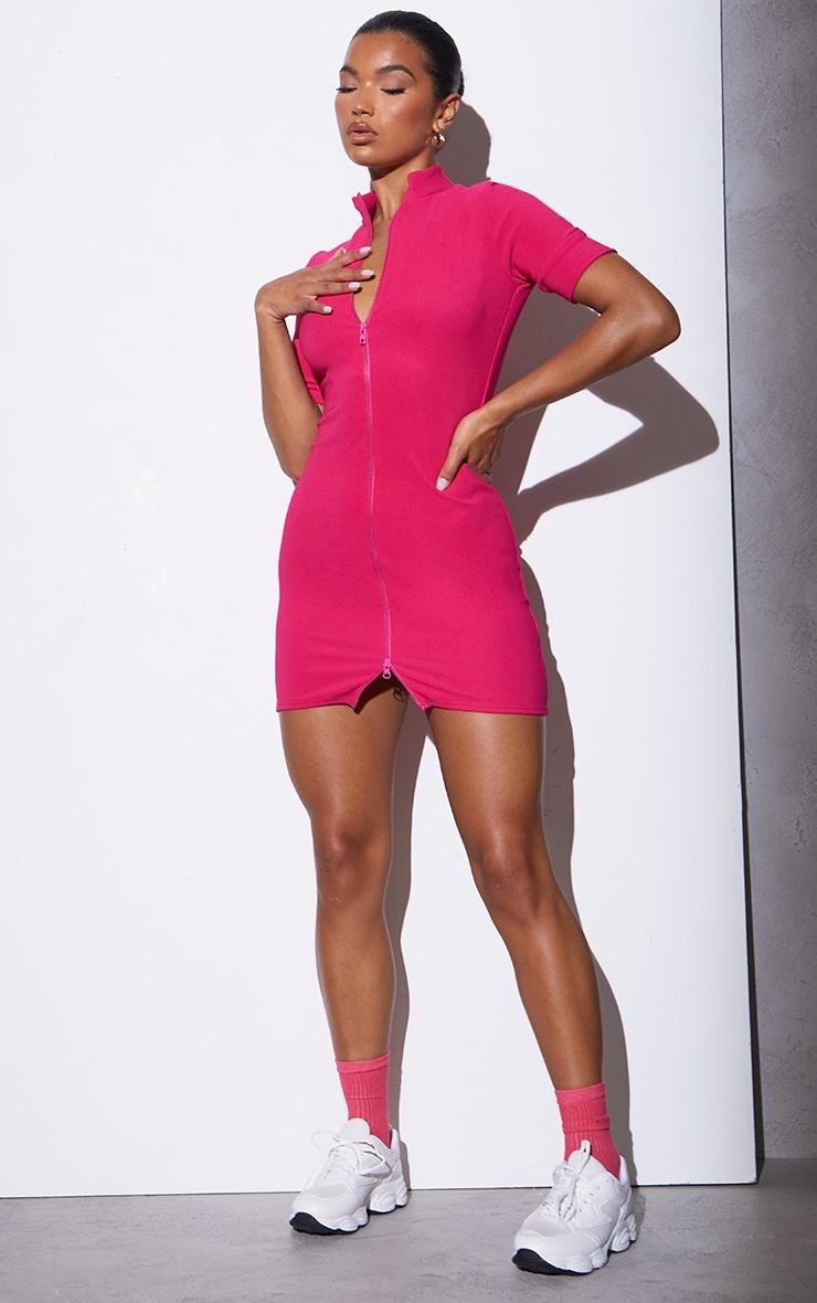 RENEW Pink Rib Double Zip Short Sleeve Bodycon Dress 3