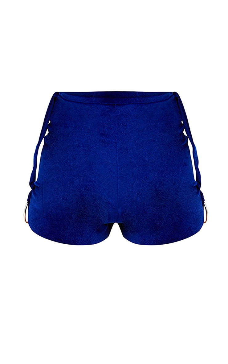Cobalt Velvet O Ring Detail Shorts 3