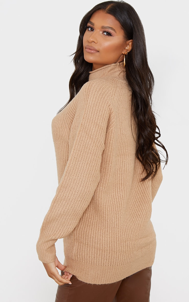 Camel Balloon Sleeve Longline Knitted Sweater 2