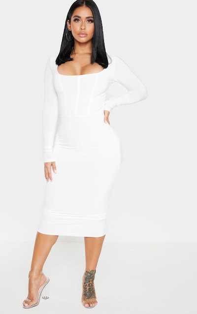 Shape White Slinky Panelled Long Sleeve Midi Dress