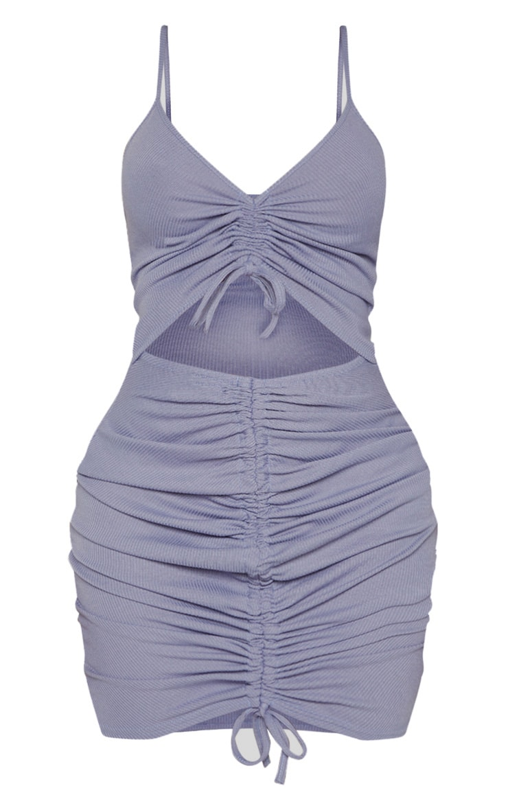 Shape Dusty Blue Ribbed Ruched Cut Out Bodycon Dress 3