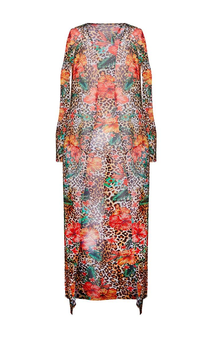 Multi Floral Leopard Print Kimono 7