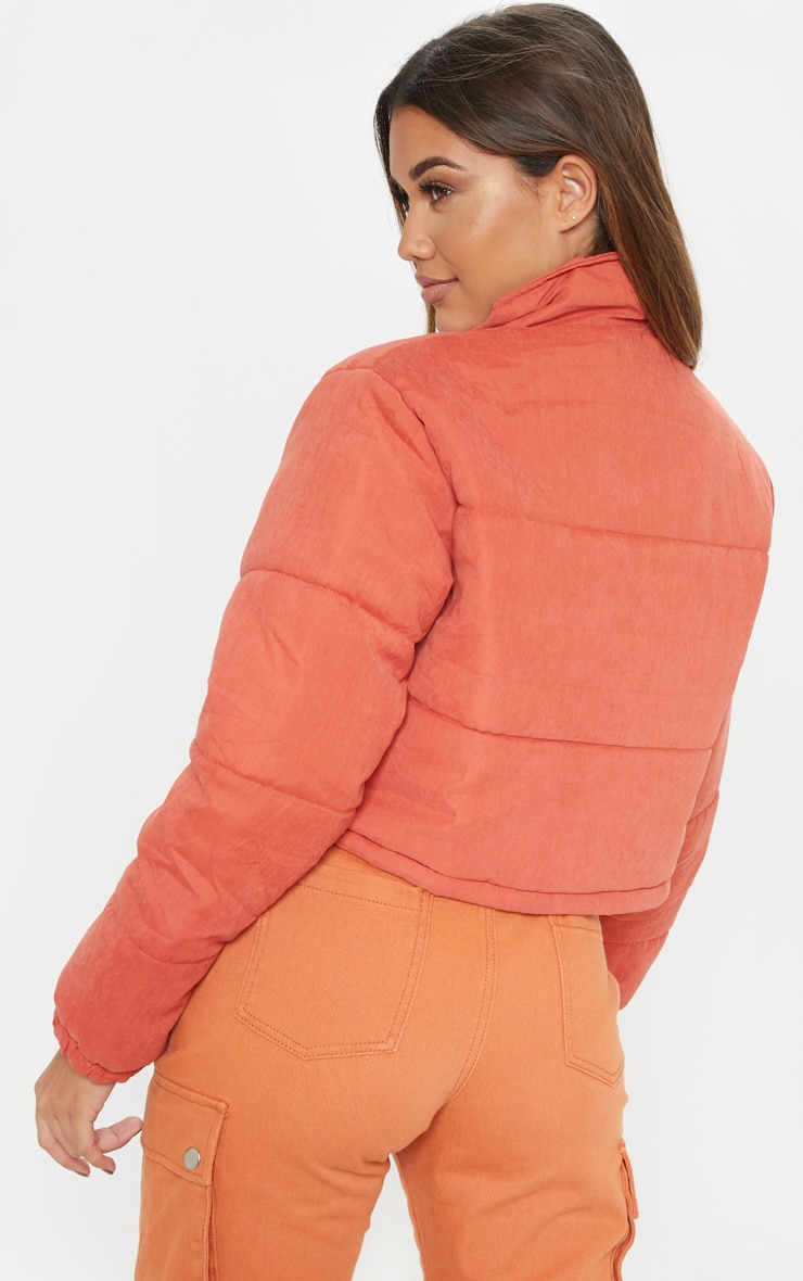 Rust Super Cropped Peach Skin Puffer  2