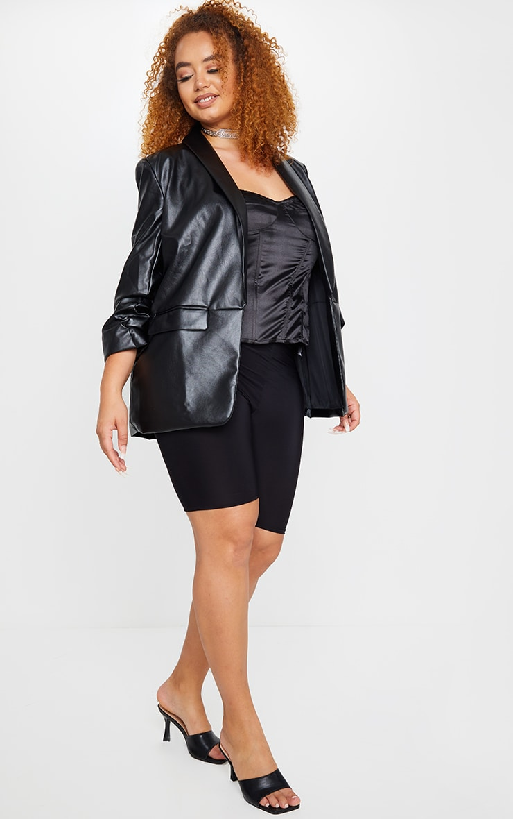 Plus Black PU Lapel Long Line Ruched Sleeve Blazer 3