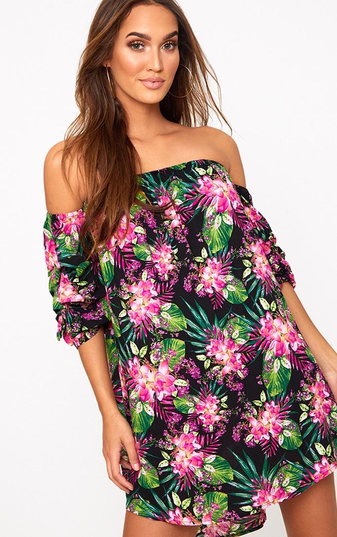 Black Floral Ruched Bardot Sleeve Shift Dress 1