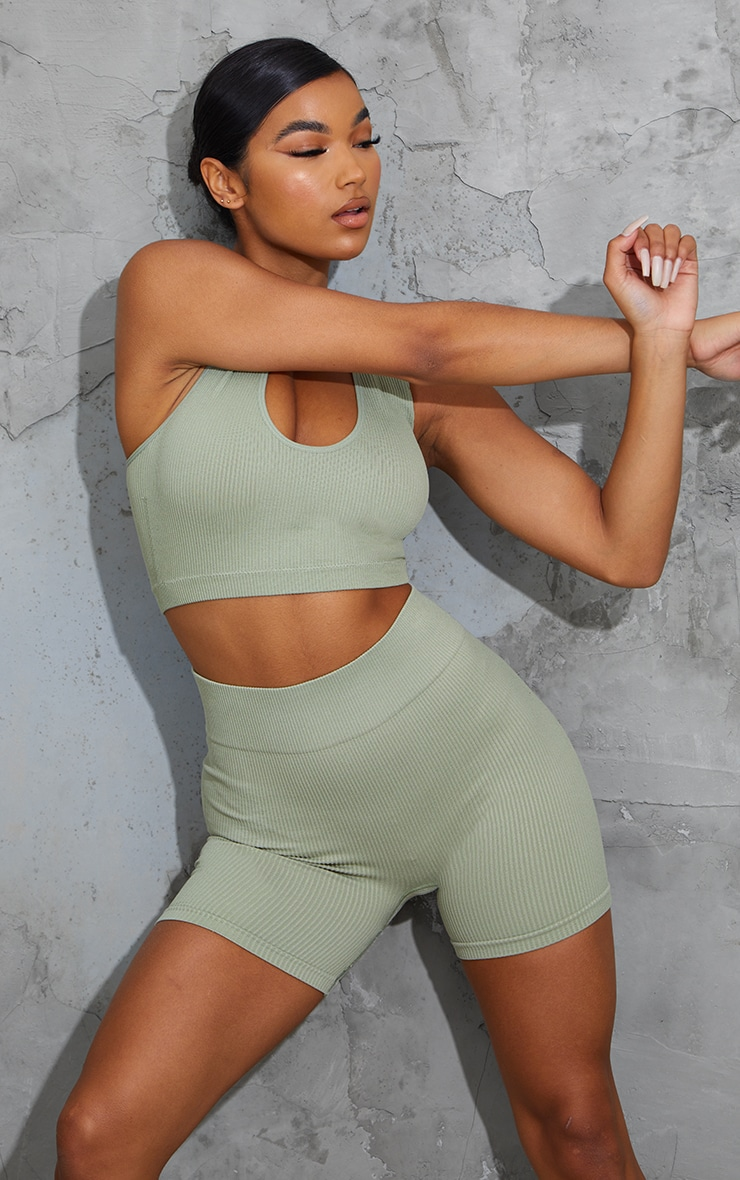 Sage Green Seamless High Waist Rib Shorts 4