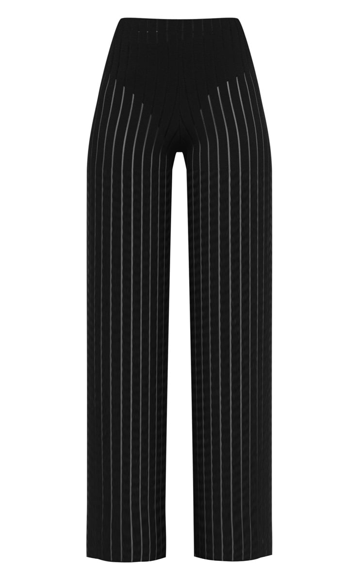 Petite Black Burn Out Mesh Wide Leg Trouser 3
