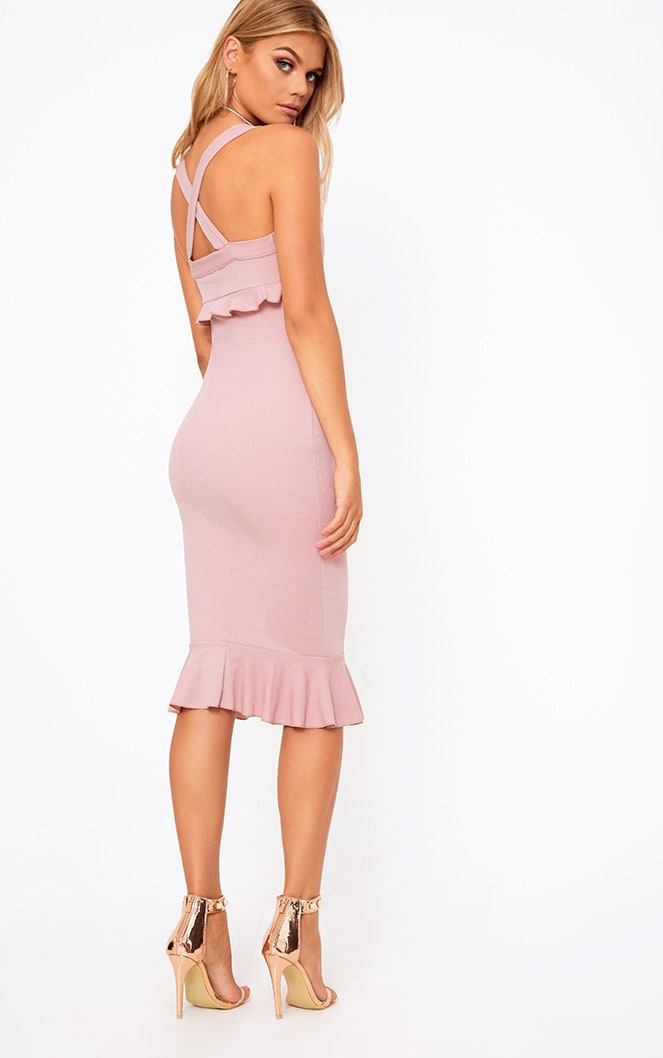 Dusty Pink Frill Detail Midi Dress 2