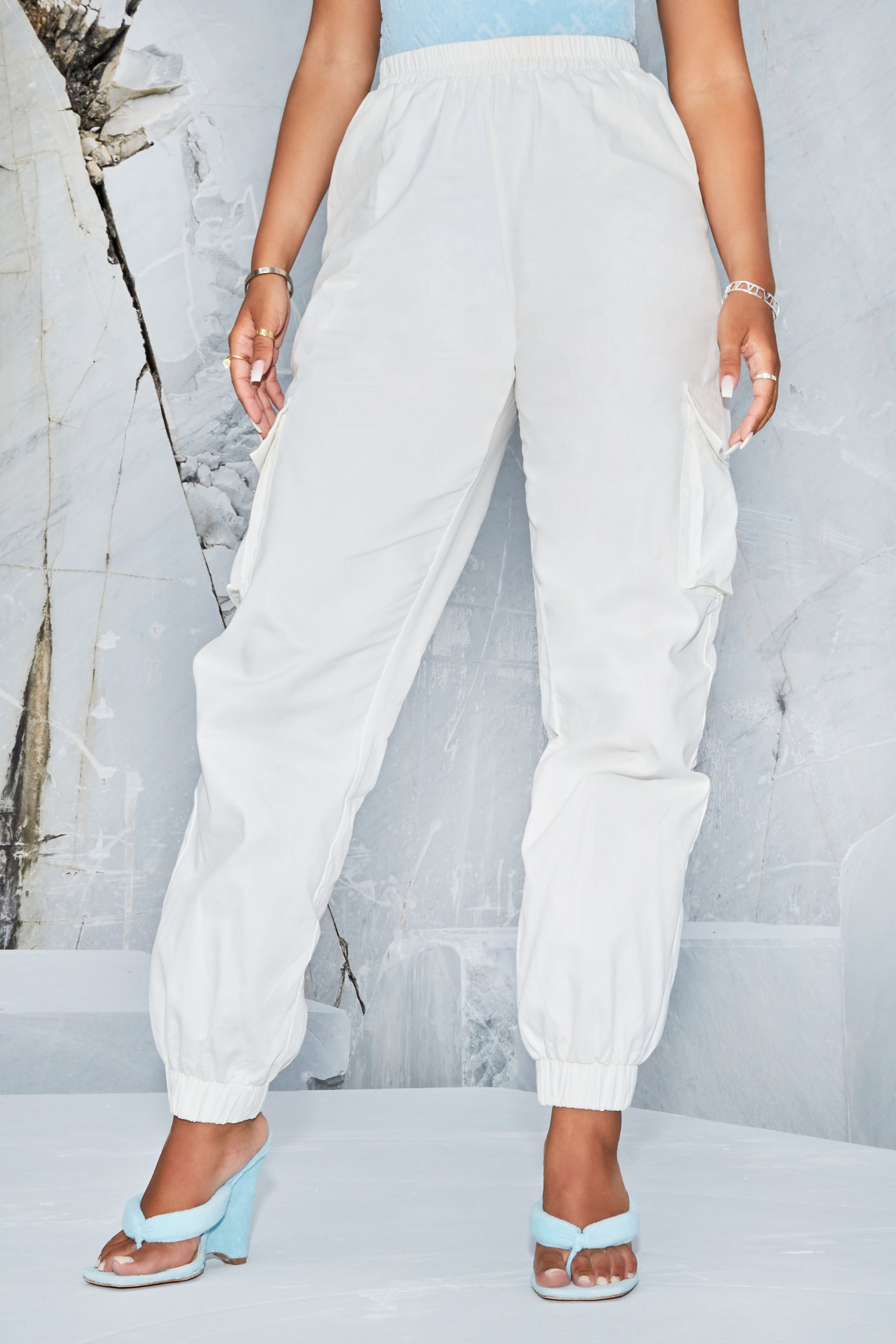 White Cargo Trousers 2