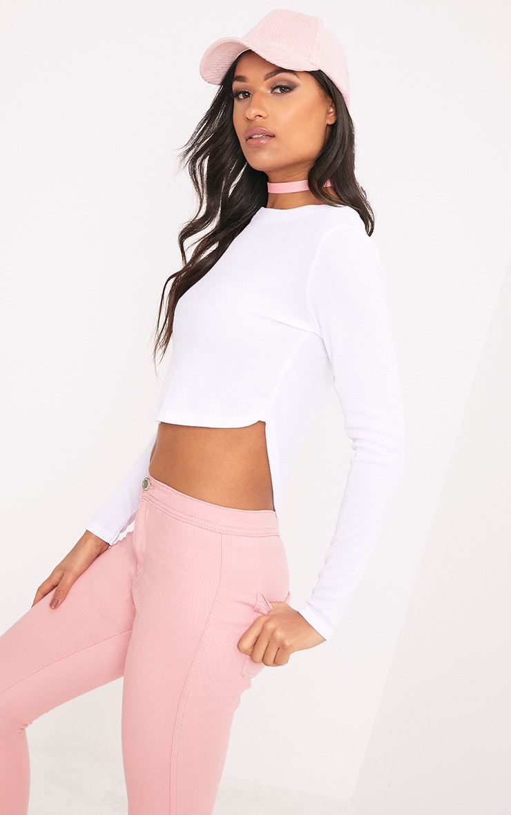 Rava White Jersey Rib Curved Hem Top 1