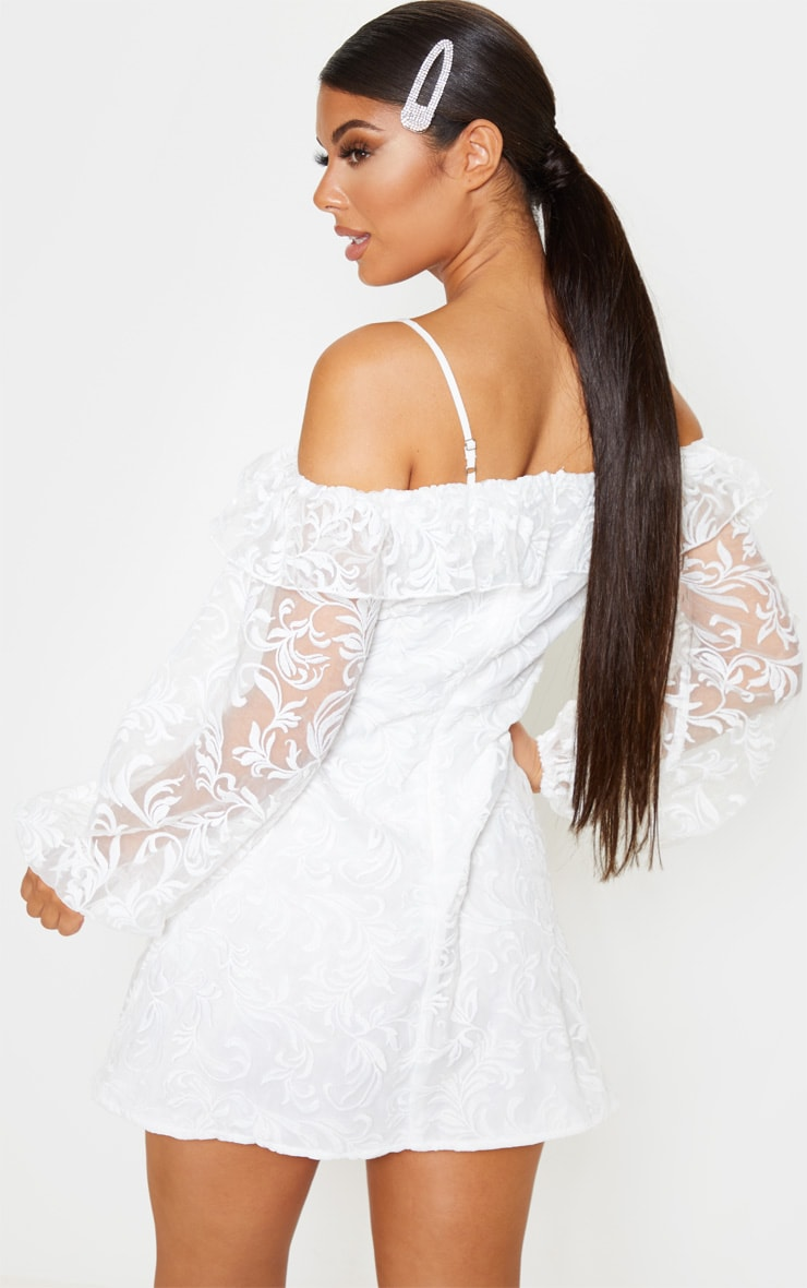White Lace Cold Shoulder Plunge Shift Dress 2
