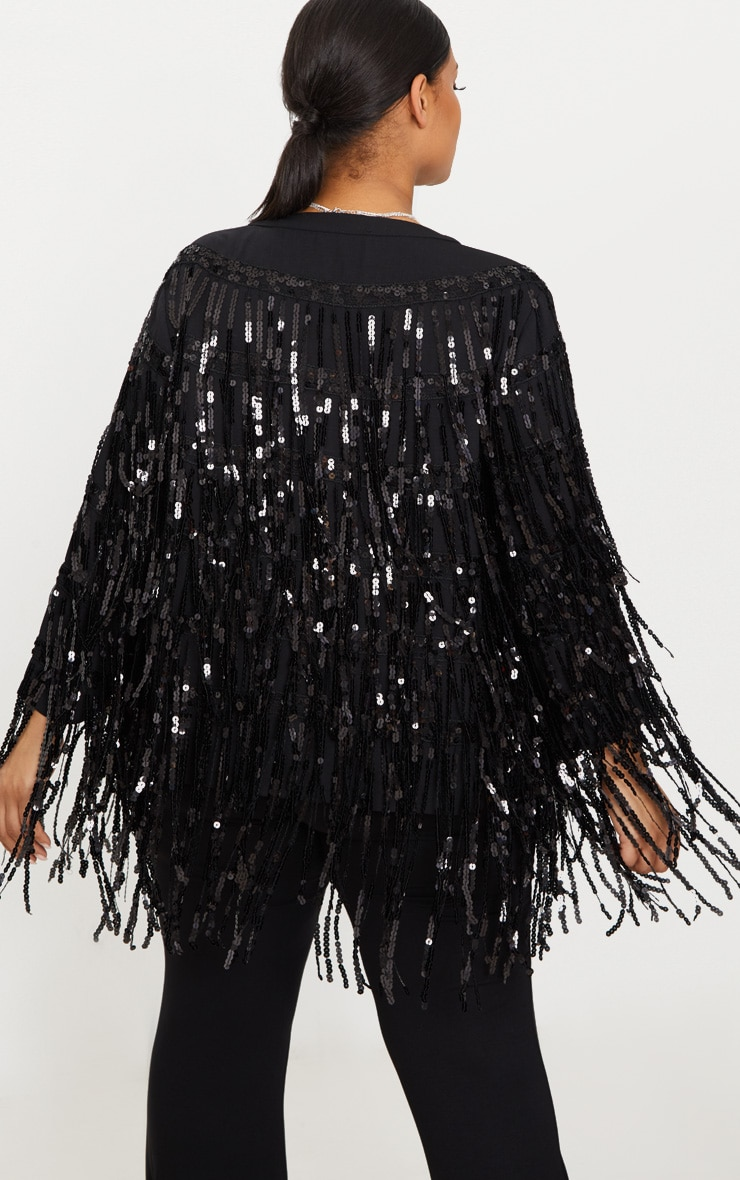 Plus Black Sequin Fringed Jacket 2