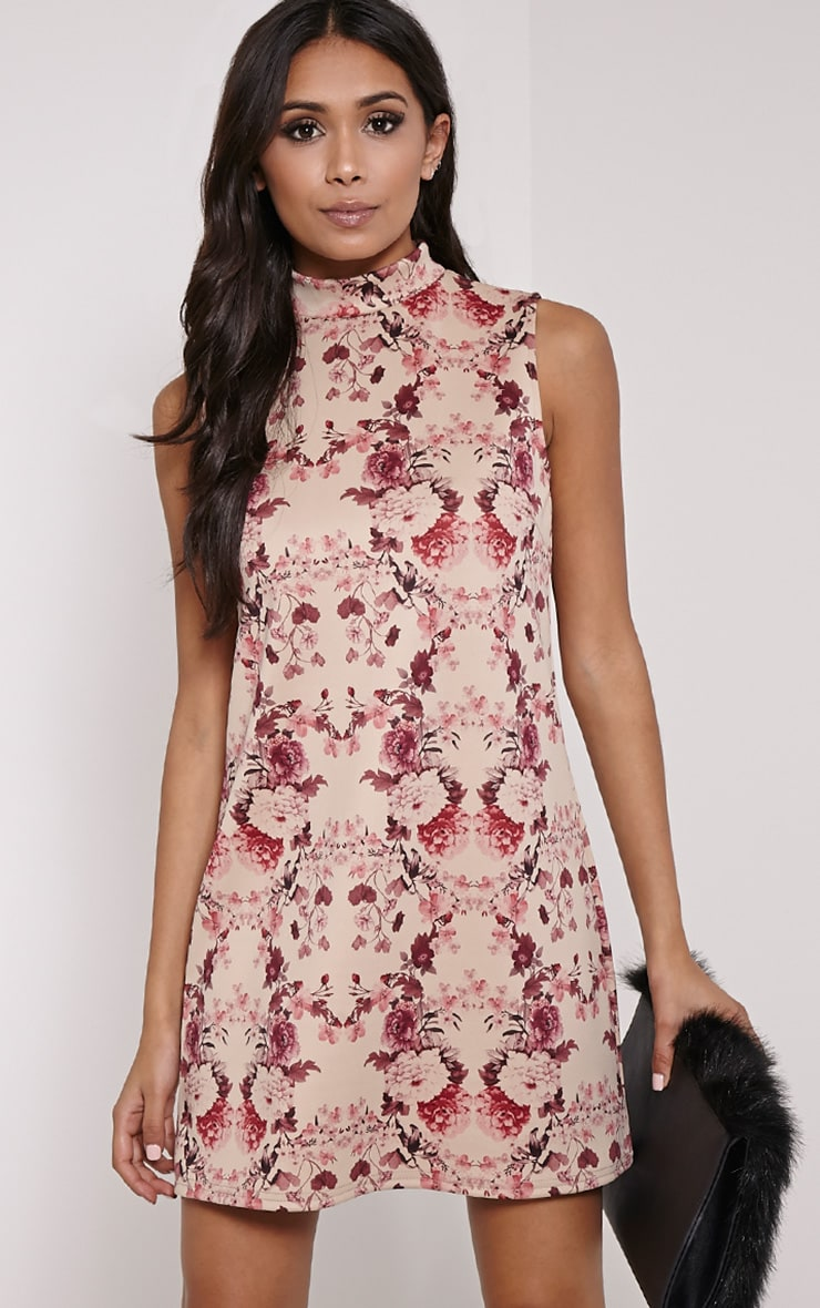 Ayla Burgundy Floral Print High Neck Shift Dress 1