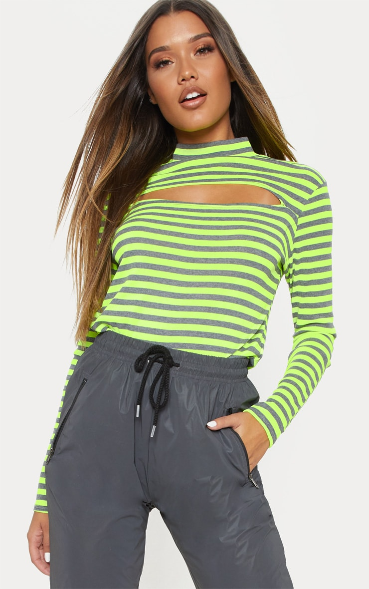 Neon Lime Neon Stripe Cut Out Long Sleeve Top 1
