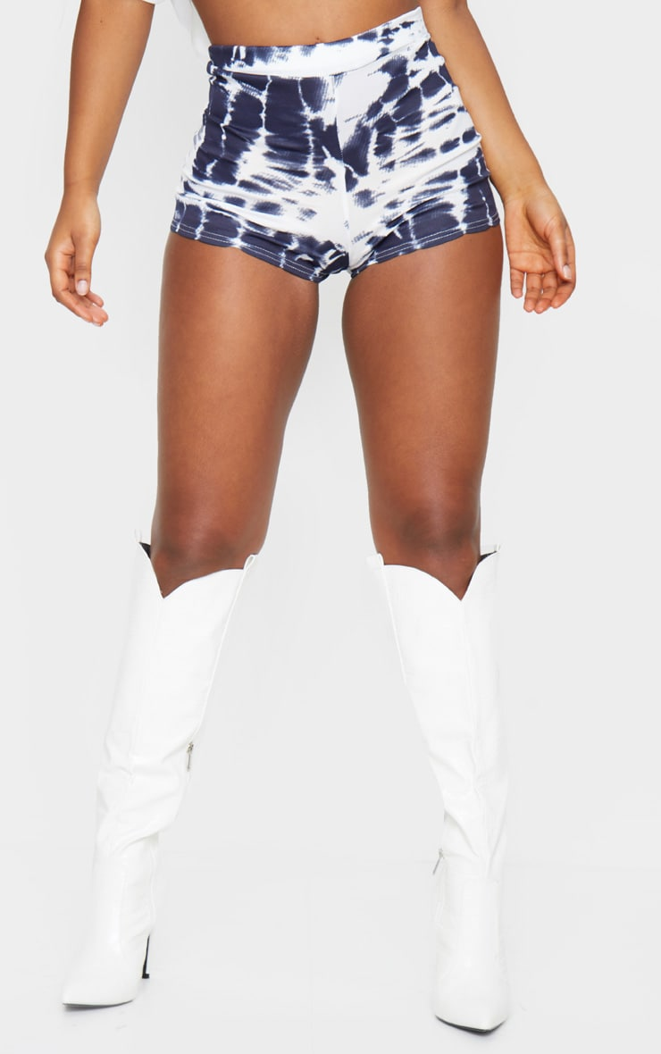Navy Tie Dye Jersey High Waisted Hot Pants 2